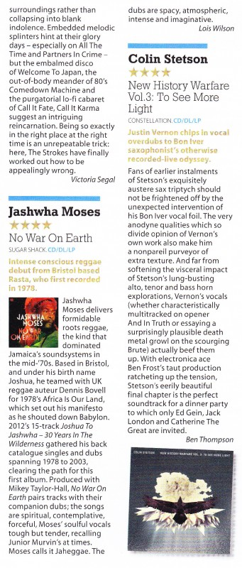 Jashwha Moses No War On Earth Album Review Mojo May 2013