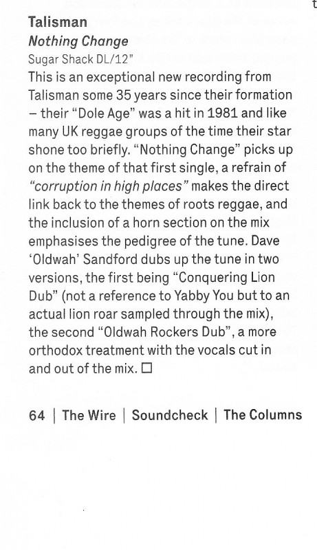Talisman Nothing Change 12 inch review The Wire Sept 20`14