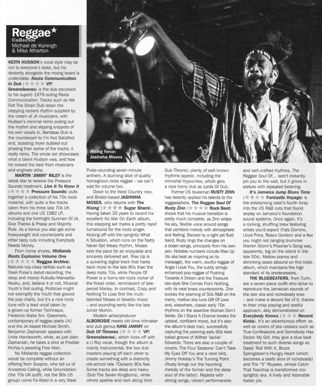 The Roots Explosion 5 out of 5 album review. Jashwha Moses The Rising 4 out of 5 album review - Record Collector June 2015